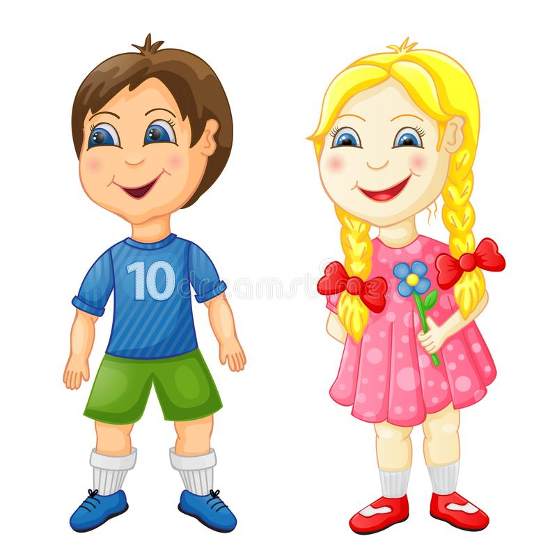 Preschool boy and girl isolated on white. Background stock illustration