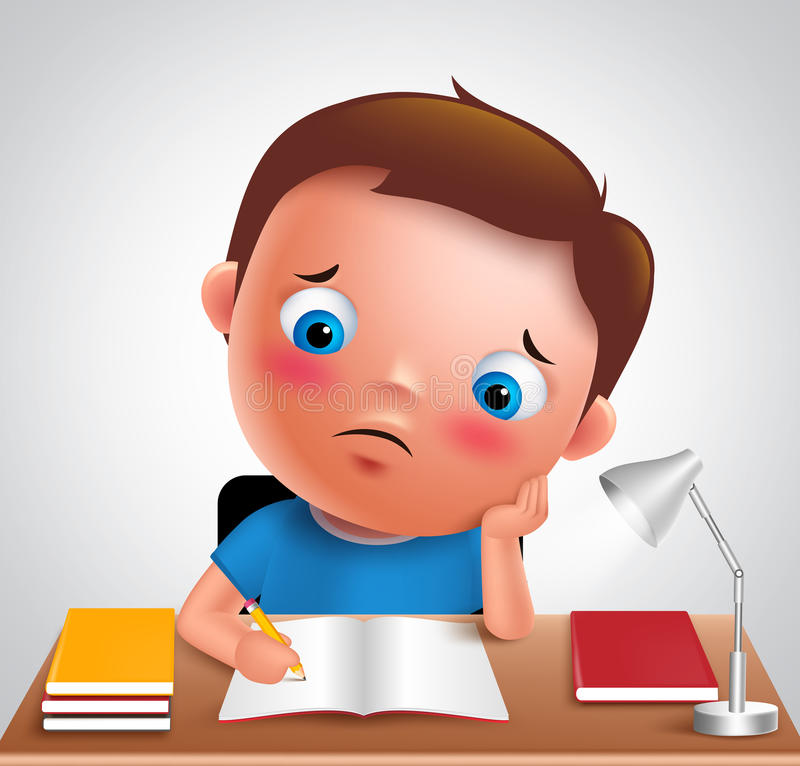 Preschool boy kid vector character bored studying school homework. In desk with adorable sad face and unhappy look while writing. Vector illustration royalty free illustration