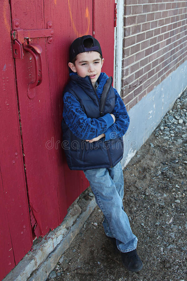 Download Preschool boy outdoors stock image. Image of contemplation - 14506319