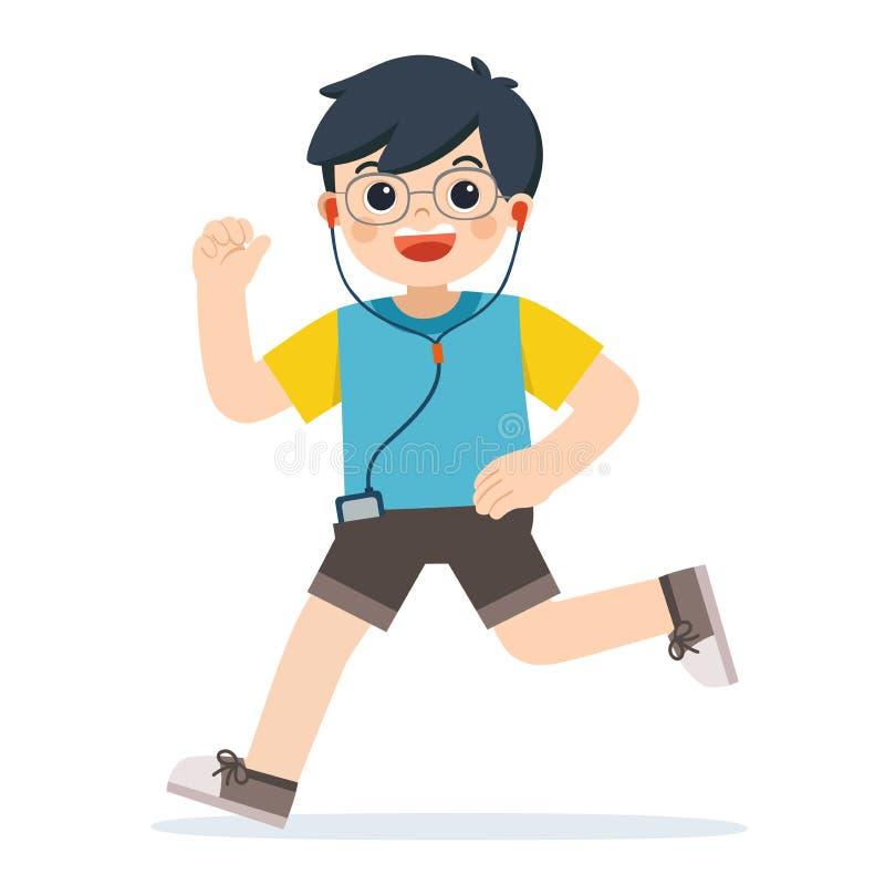 Preschool boy running fast. A cute Boy running on white background. Boy running. Marathon runner or a boy running stock illustration