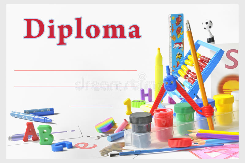 Preschool diploma. Shoot in studio stock photography
