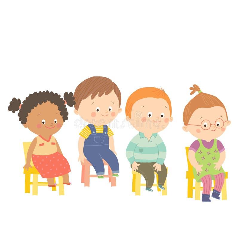 Preschool dzieci siedzi na krzesłach i ono uśmiecha się ilustracja wektor