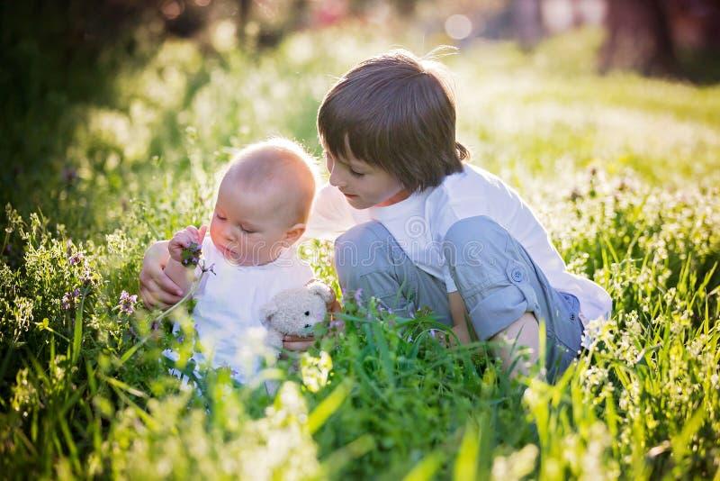 Preschool dziecko, przytulenie i całowanie, jego słodka berbeć chłopiec zdjęcia royalty free