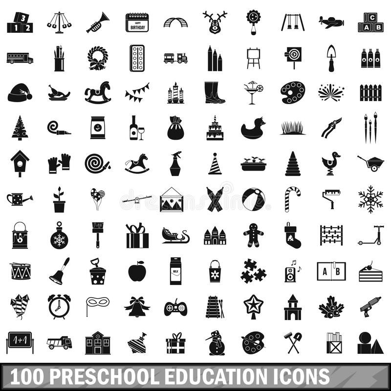 100 preschool education icons set, simple style royalty free illustration