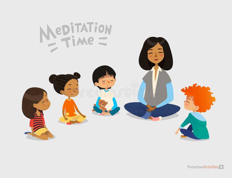 Preschool female teacher and smiling kids sitting in circle on floor and doing yoga exercise. Meditation lesson in kindergarten co vector illustration