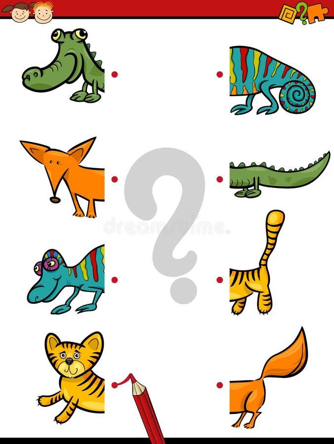 Preschool game of halves vector illustration
