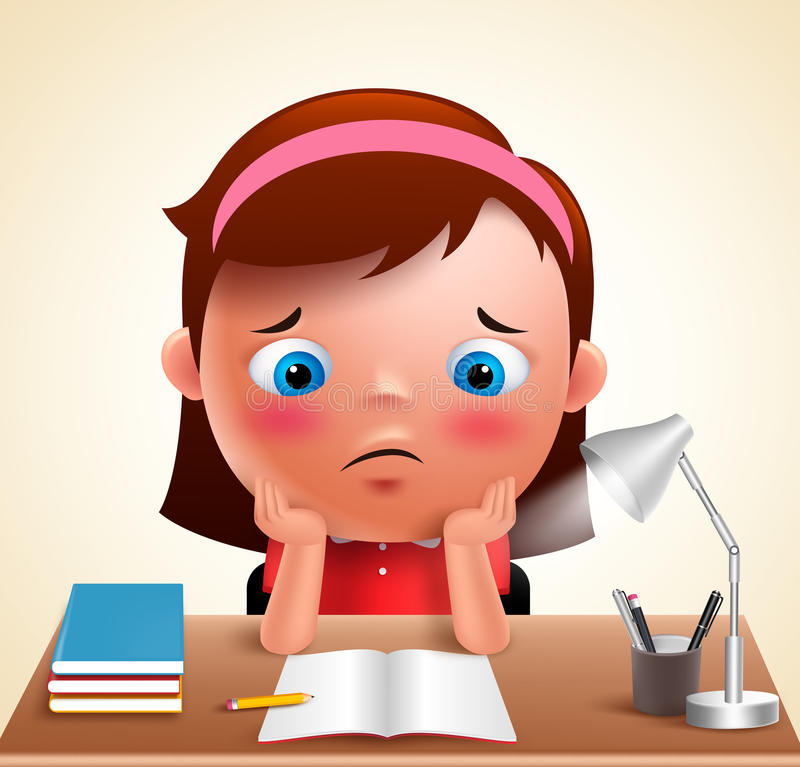 Preschool girl kid vector character bored studying school homework. In desk with adorable sad face and unhappy look. Vector illustration royalty free illustration