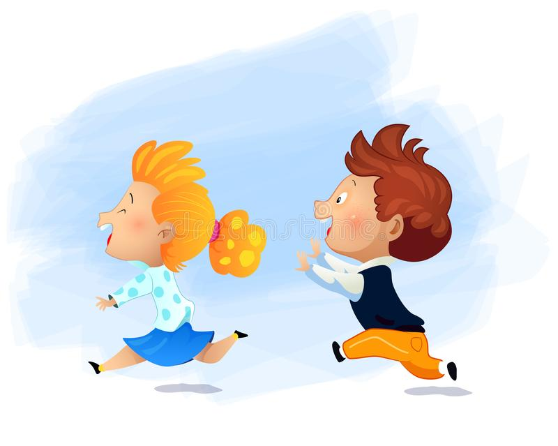 Preschool girl running fast and play catch-up and tag game. Cartoon vector illustration royalty free illustration