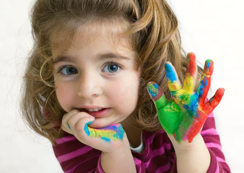 Preschool girl waving hello goodbye stock image