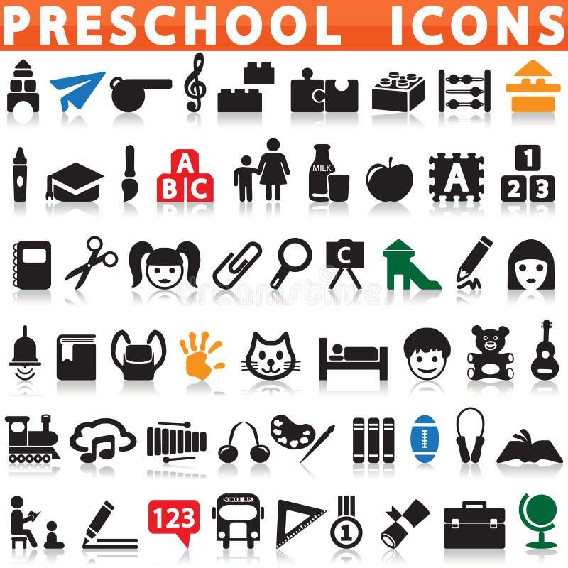 Preschool ikony ilustracja wektor