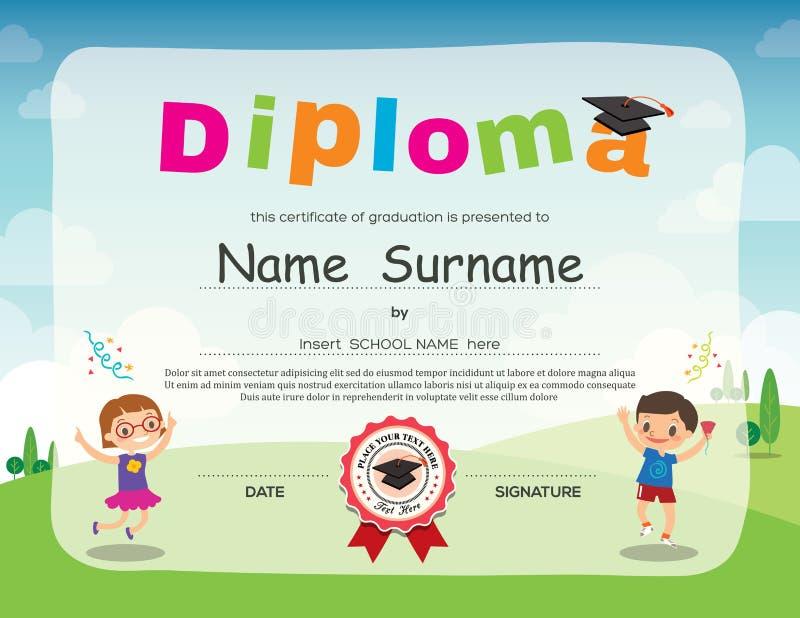 Preschool kids diploma certificate background design stock illustration