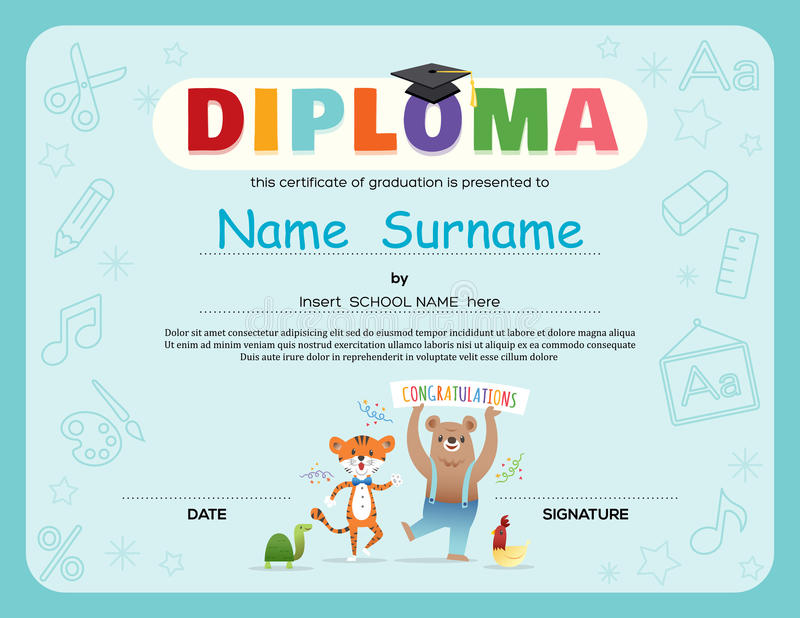 Preschool Kids Diploma certificate background design template vector illustration
