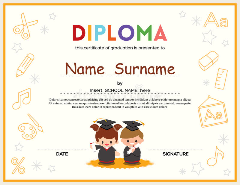 Preschool Kids Diploma certificate design template stock illustration