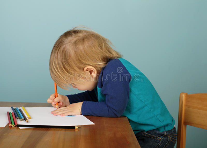 Preschool Kids Education. Concept of preschool, kids education, learning and art, child drawing in class stock photos
