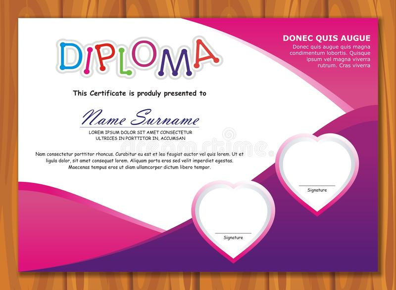 Lovely Kid Diploma - Certificate. Preschool / kindergarten Lovely Kid Diploma - Certificate template design with cute and adorable color design, suitable and stock illustration