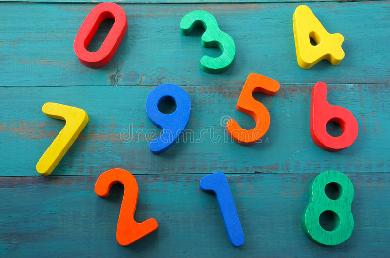 Preschool learn to count mixed numbers from one to nine royalty free stock photos