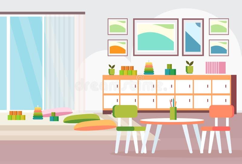 Preschool nowożytna dziecinów dzieci sala lekcyjna z biurek krzesłami i playroom dekoracji kolorowy meble opróżniamy żadny ilustracji