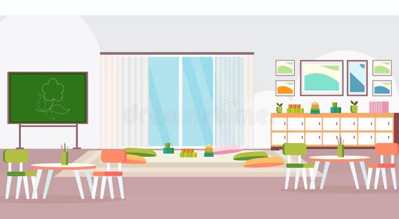 Preschool nowożytna dziecinów dzieci sala lekcyjna z chalkboard biurek krzesłami i playroom dekoracji meble opróżniamy żadny ilustracja wektor