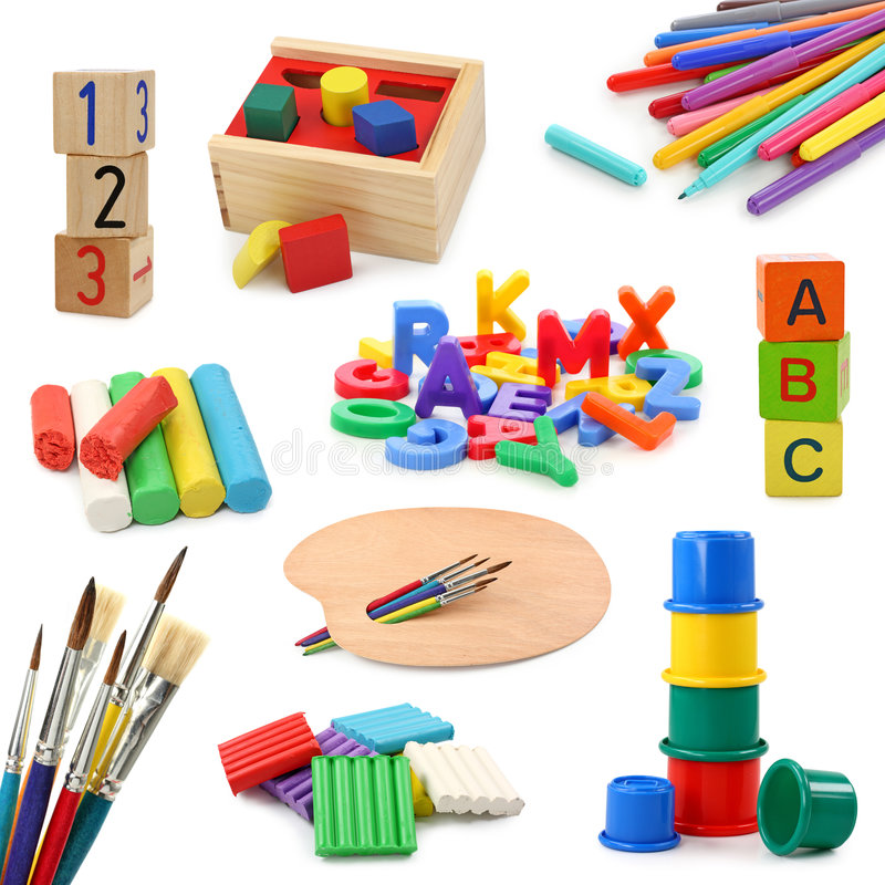 Preschool objects collection. Isolated on white background stock images