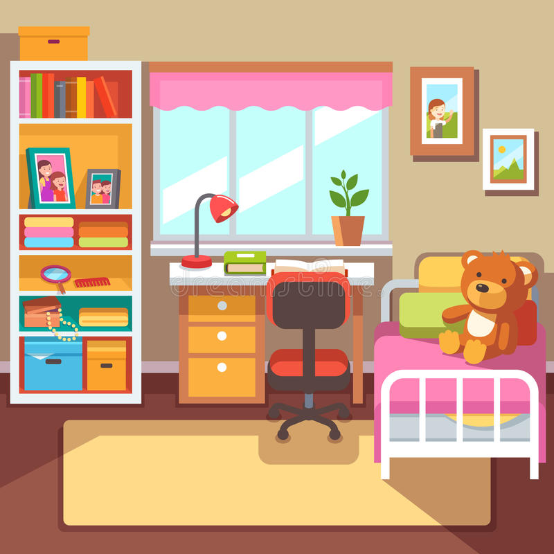 Preschool or school student girls room interior. Study desk at the window, Bookshelf with drawer boxes, some books and photo frames, bed with teddy bear. With vector illustration