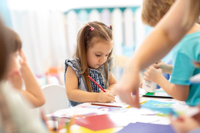 Preschool students in art class. Education, school, pupil, kid,art concept stock photos