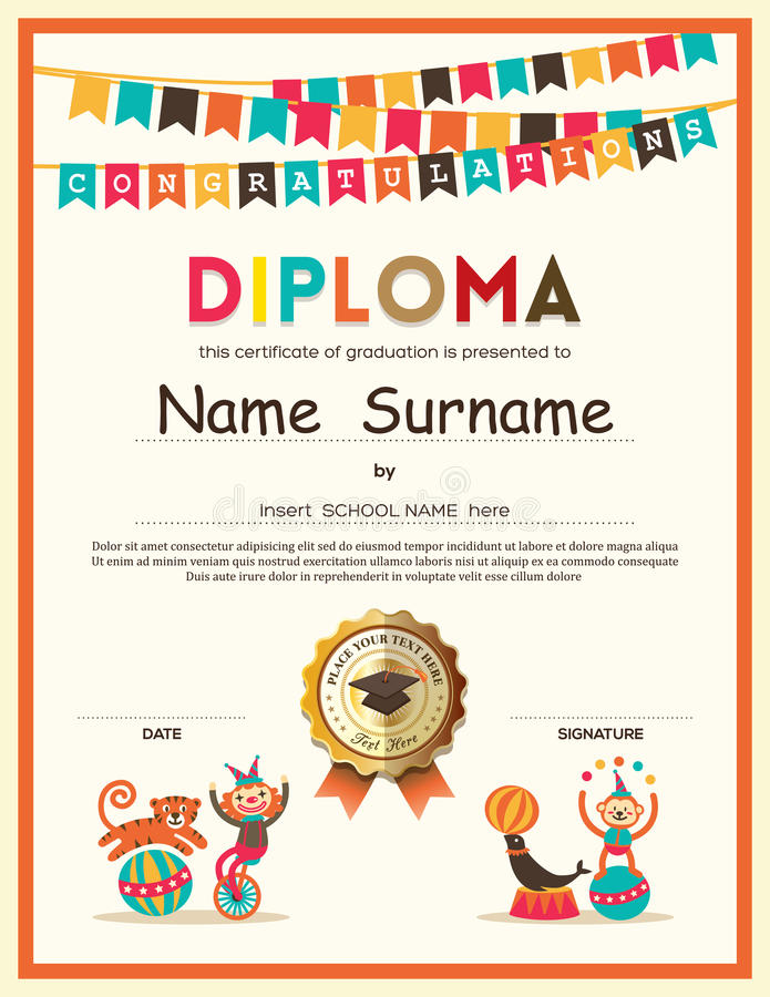 Preschool szkoła podstawowa Żartuje dyplomu świadectwa tło ilustracji