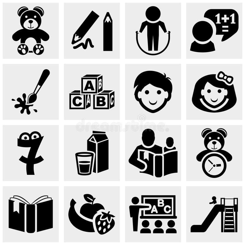 Preschool wektorowe ikony ustawiać na szarość. ilustracja wektor