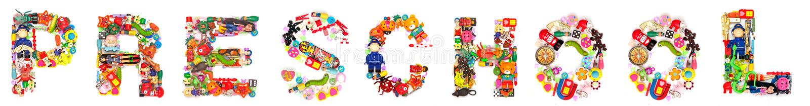 Preschool made up toys. The word preschool made with lots of sall toys royalty free stock photos