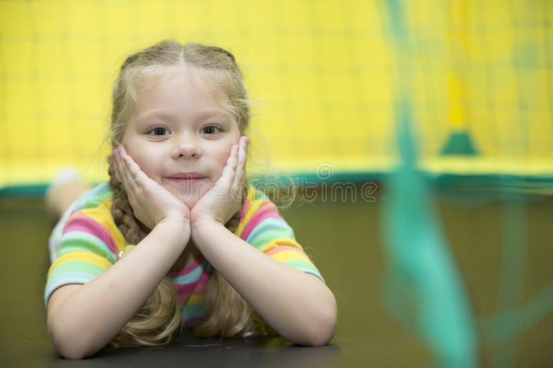 Preschooler in the gym royalty free stock image
