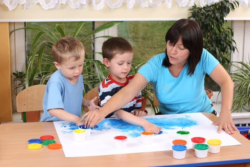 Download Preschoolers And Fingerpainting Stock Image - Image: 5476293
