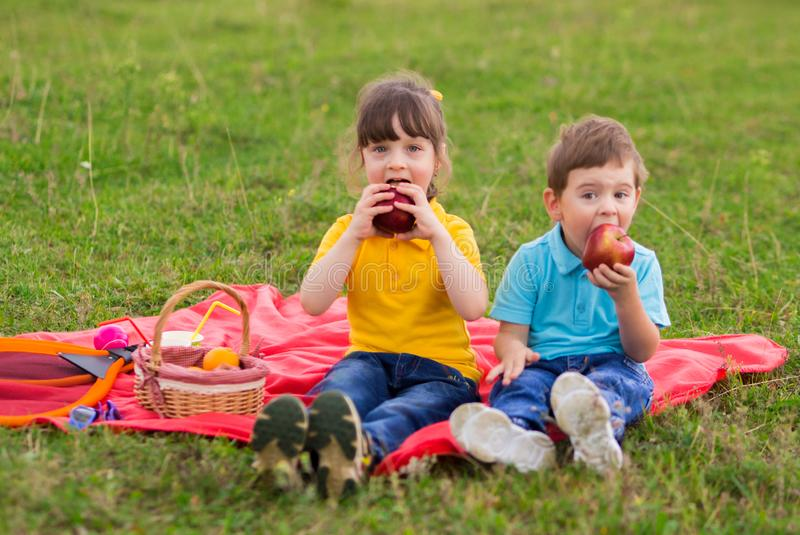 Preschoolers - a girl in a yellow polo with a bang and a boy in a blue T-shirt are sitting on a red plaid and eating apples. Children`s picnic. Indian summer stock photo