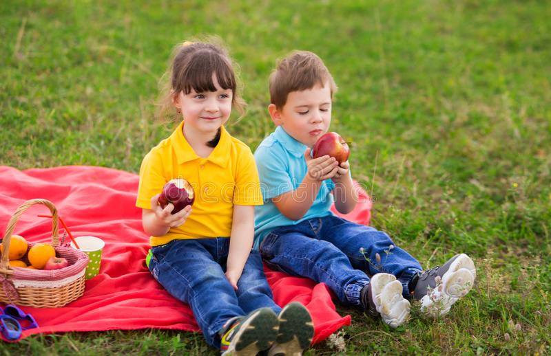 Preschoolers - a girl in a yellow polo with a bang and a boy in a blue T-shirt are sitting on a red plaid and eating apples. Children`s picnic. Indian summer royalty free stock images