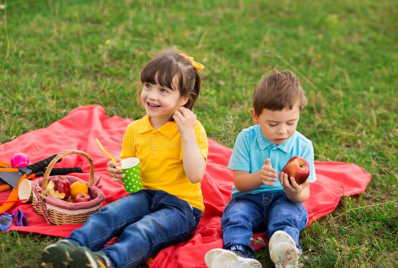 Preschoolers - a girl in a yellow polo with a bang and a boy in a blue T-shirt are sitting on a red plaid and eating apples and. Drinking juice. children`s royalty free stock photos