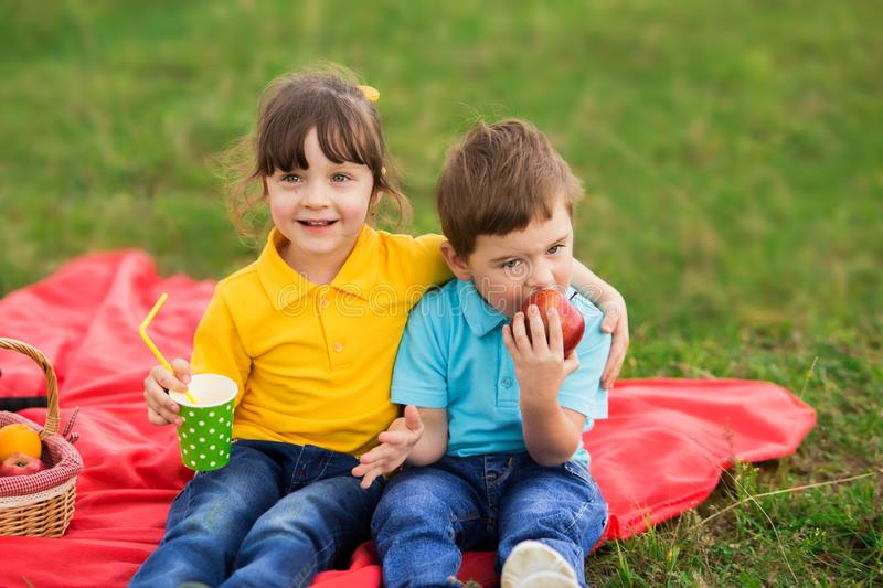 Preschoolers - a girl in a yellow polo with a bang and a boy in a blue T-shirt are sitting on a red plaid, hugging, eating apples. And drinking juice. children` royalty free stock image