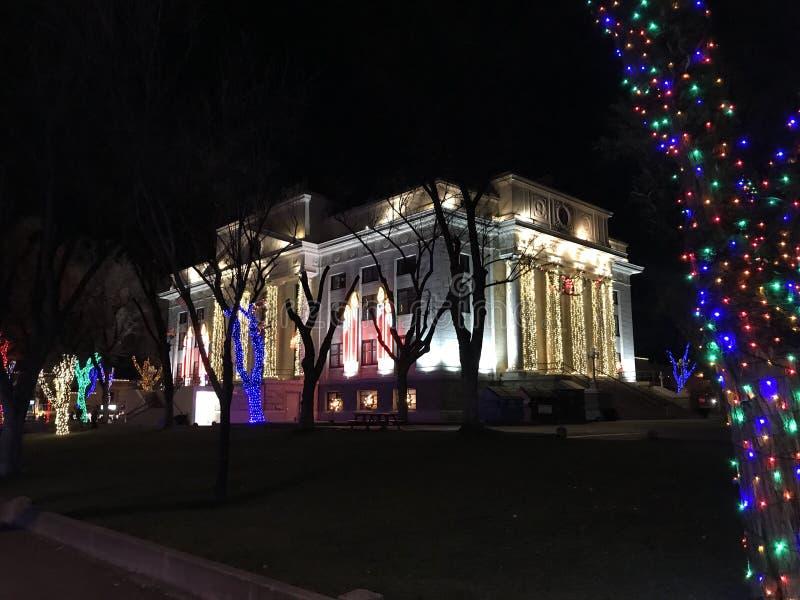 Prescott County Courthouse am Weihnachten stockfoto