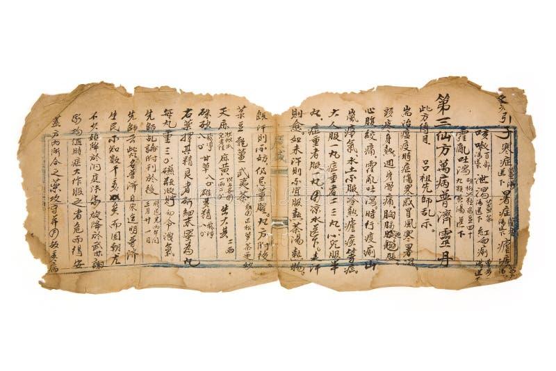 Prescrição chinesa antiga imagens de stock royalty free