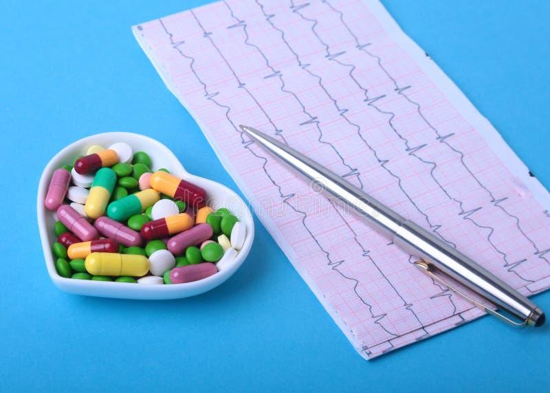 Prescrição de RX e comprimidos e cápsulas coloridos da variedade na placa imagens de stock royalty free