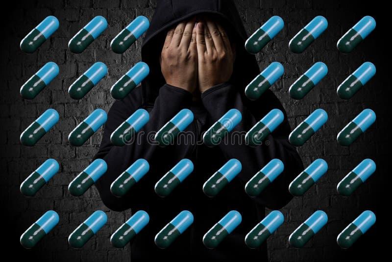 prescrição deprimida Hea da droga da medicamentação da dependência da expressão imagens de stock royalty free
