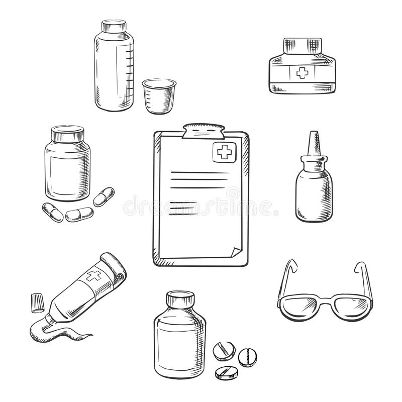 Prescrição e ícones médicos do esboço ilustração royalty free