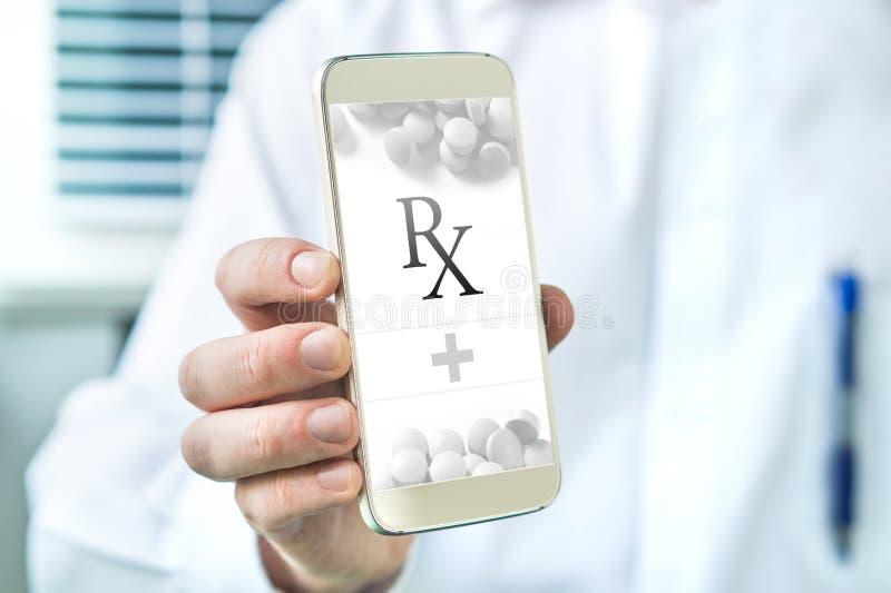 Prescrição eletrônica E-prescrição móvel app foto de stock royalty free
