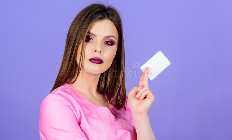 Prescribed by doctor. Health care. Medical education. Medicine concept. Private clinic. Woman pretty doctor wear uniform. Girl doctor hold business card copy royalty free stock images