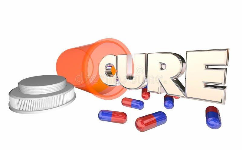 Prescripción de la enfermedad de la enfermedad de la botella de píldora de la medicina de la curación ilustración del vector
