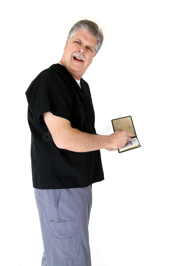 Prescripción de la escritura del doctor con mirada que pregunta imagen de archivo