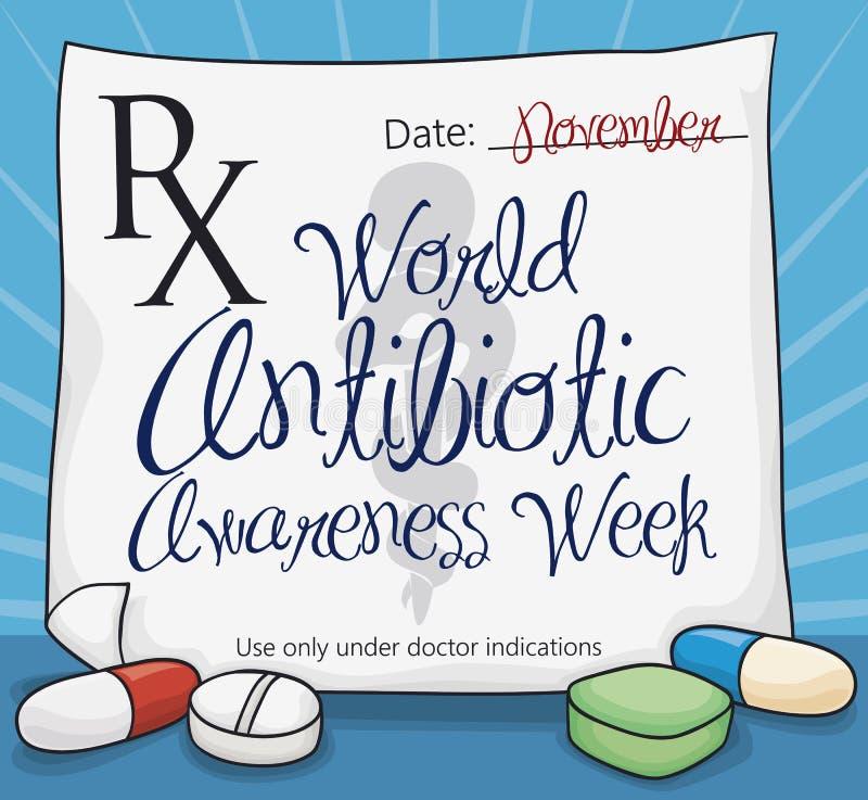 Prescripción médica con las píldoras que conmemoran la semana antibiótico de la conciencia del mundo, ejemplo del vector libre illustration