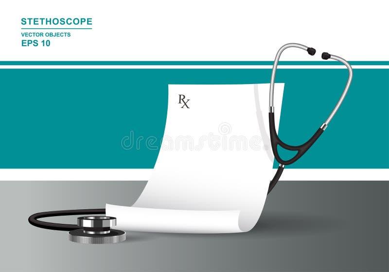 Prescripción médica y estetoscopio Concepto de la atención sanitaria con el phonendoscope libre illustration