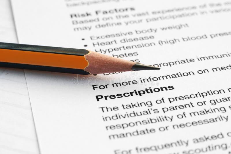 Prescription photo stock