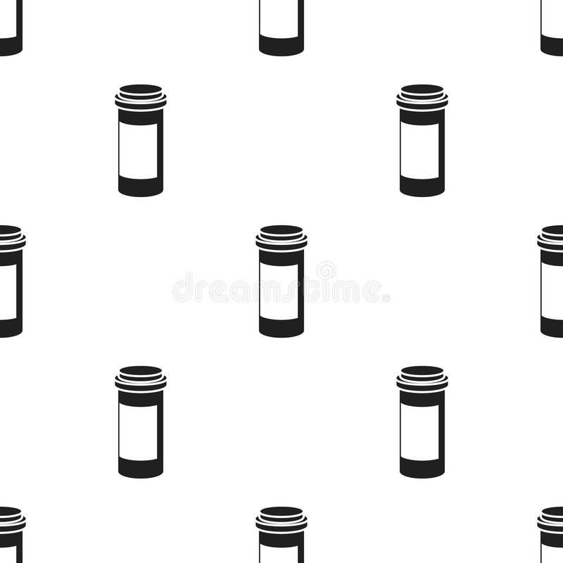 Prescription bottle icon in black style isolated on white background. Medicine and hospital pattern stock vector vector illustration