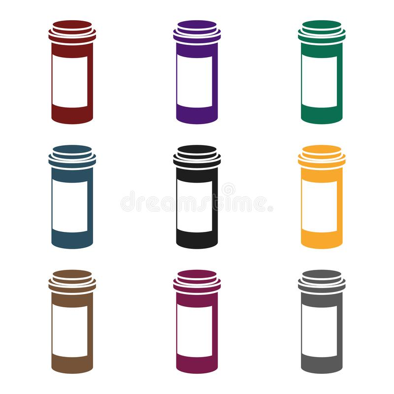 Prescription bottle icon in black style isolated on white background. Medicine and hospital symbol stock vector royalty free illustration
