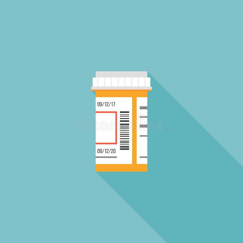 Prescription bottle icon. Flat design with long shadow vector illustration