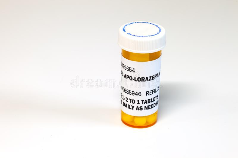 Prescription bottle with Lorezapam on a white background. Lorezapam is a generic prescription anti-anxiety medication. royalty free stock photography